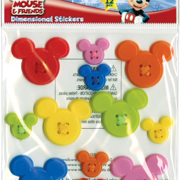 disney mickey adhesive buttons - 12 ct