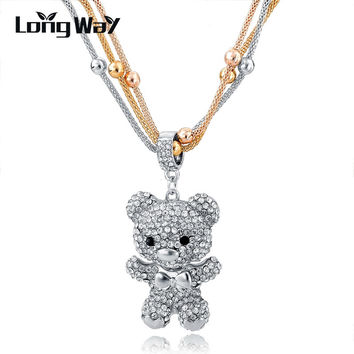 Fashion MultiLayer Silver Necklace For Women 2016 Crystal Bear Pendant Beads Long Necklace Jewelry Statement Necklace SNE150786