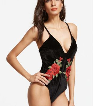 Sexy V black rose embroidery vest type one piece bikini show thin