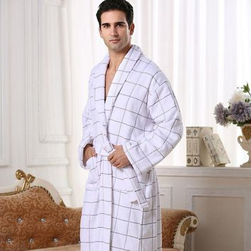 High-end Cotton bathrobe men women nightgown towel fleece sleepwear for girls thickening lovers long autumn winter