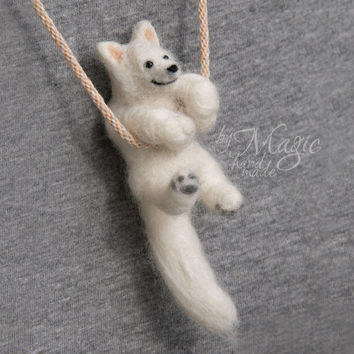 MADE TO ORDER needle felted custom dog on braided necklace, customized dog, felt dog, miniature animal, pet portrait, gift, pet sculpture