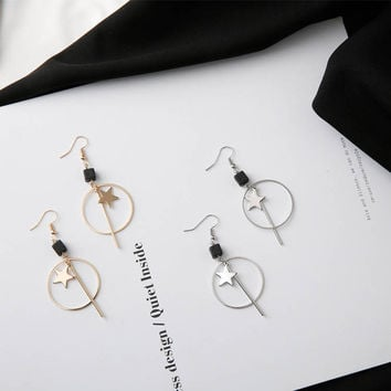 Mitz - Gold and silver plated star cube dangle earrings