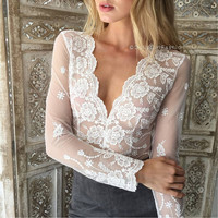 Wavy edge lace embroidery symmetric deep V perspective brief paragraph coat of cultivate one's morality