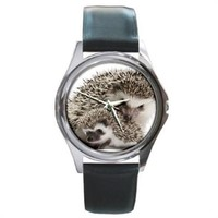 Mother And Baby Hedgehog Silver Stainless Steel Watch Round