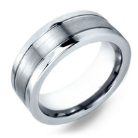 Mens Silver Tungsten Wedding Band With Double Channel Grooves