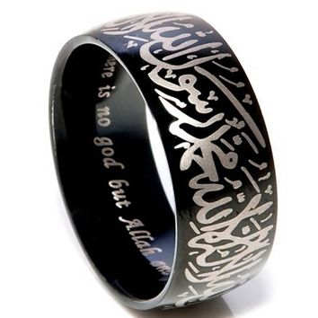 Black 8MM Size 7-15  Stainless Steel Allah Arabic Aqeeq Shahada Islamic Muslim Ring Band  Muhammad God Quran Middle Eastern