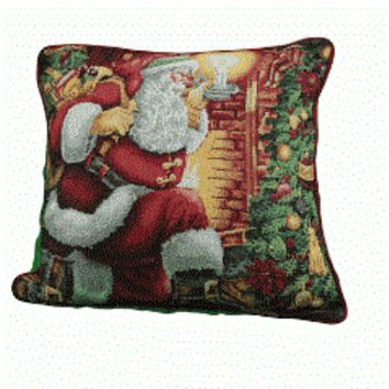 Tache 16 X 16 Inch Festive Down the Chimney Place Cushion Cover
