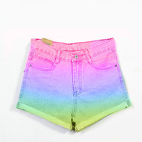 High Waist Denim Rainbow  shorts