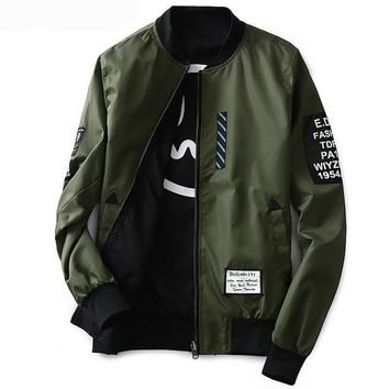 Grandwish Bomber Jacket Men Pilot with Patches Green Both Side Wear
