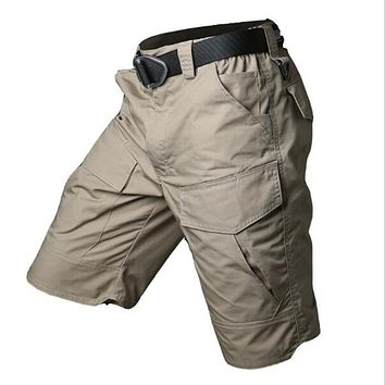 Summer Militar Waterproof Tactical Cargo Shorts Men Teflon Camouflage Army Military Short Male Pockets Rip-stop Casual Shorts