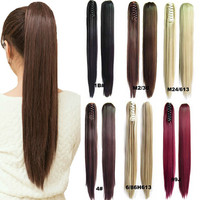 22Inches Women's  Long Straight Claw Pony tail Synthetic Fiber Hair Ponytail Clip In On Hair Extension 16 Colors