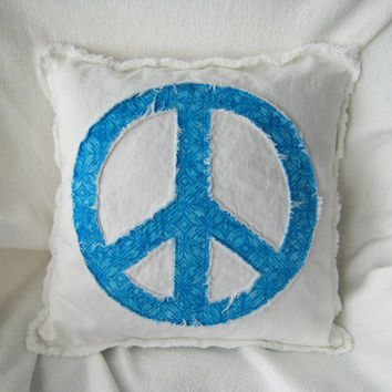 "Peace sign pillow cover with turquoise batik and distressed white denim 16"" boho accent pillow cover"