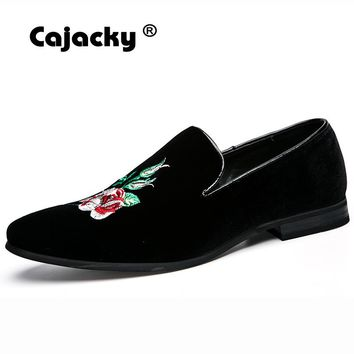 Cajacky men velvet dress shoes suede leather handmade loafers slip on black wedding party shoes luxury brand floral flats male