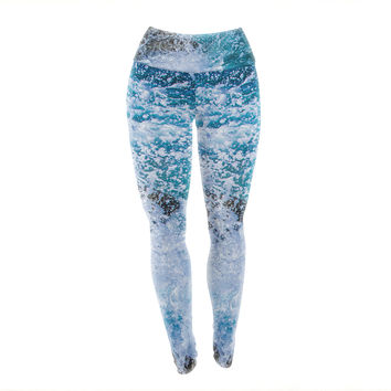 "Juan Paolo ""La Jolla Shores"" Blue White Yoga Leggings"