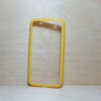 For Samsung Galaxy S4 Yellow Silicone Bumper and Clear Hard Plastic Case