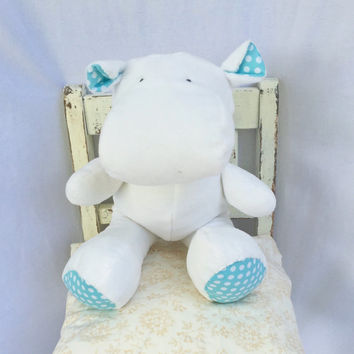 soft stuffed hippo ~ soft nursery decor and toy  ~ zoo animals ~ adoption celebration toy ~ safari themed decor ~ Christening gift ~ Africa