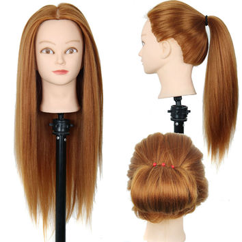 "24""Mannequin Head Hair Yaki Synthetic Maniqui Hairdressing Doll Heads Cosmetology Mannequin Heads Women Hairdresser Manikin Sale"