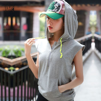 HTLD Gym Sleeveless Running Hooded Jacket Women Outdoor Sport Hoodies Fitness Half Zipper Exercise Coats Shirts Tracksuit Tanks