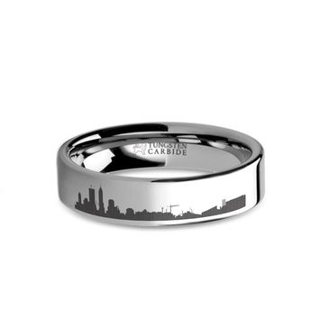 Indianapolis City Skyline Cityscape Engraved Tungsten Ring