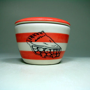 lidded bowl pie slice (striped natural/clementine). Made to Order.