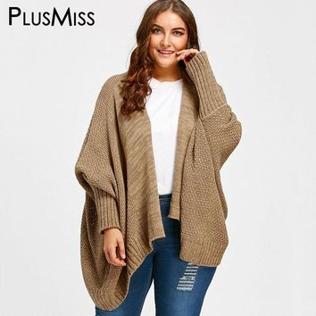 Plus Size 5XL Winter 2017 Warm Batwing Sleeve Knitted Cardigan Coat Women Long Loose Poncho Shrug Sweater Jumpers Oversized