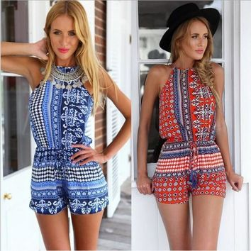 Summer Romper Western Fashion Women Sleeveless Jumpsuits Ladies Vintage Print Bodysuits