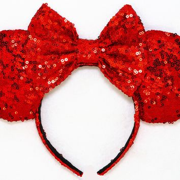 Red Sequin Ears and Red Bow