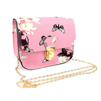 2017 Women Butterfly Flower Printing Chains Pu Leather Messenge Bag Girl Elegant Shoulder  Females Fashion Crossbody Bags #74512