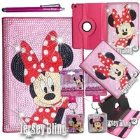 BLING! Ipad Mini Minnie Mouse Crystal & Rhinestone 360 Degree Rotating Faux Leather Case with FREE Minnie Mouse Key Chain