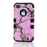 Hot Popular Pink Pine Branch Design Triple Hybrid Sanp On Impact Case Cover For Apple iPhone 4 4S 4G Black