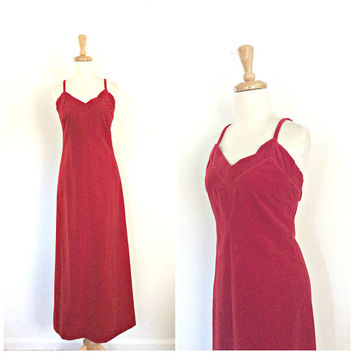 Vintage Velvet Dress - cocktail dress - jumper - red party dress - spaghetti strap - long dress - velvet gown - S M