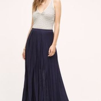 Maeve Pleated Knit Maxi Skirt in Navy Size: