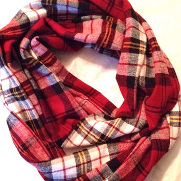 Red Black White Yellow Flannel Plaid Scarf Soft Infinity Scarf Neck Warmer Fall Layer Accessory