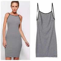 Summer Stripes Backless Spaghetti Strap Dress One Piece Dress [6050175041]