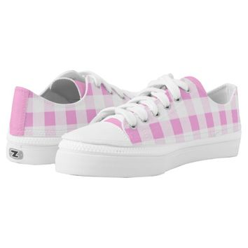 Pink Rose Checkered Pattern Low Top Shoes