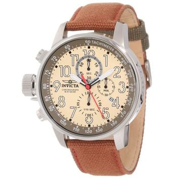 Invicta 12083 Men's I-Force Lefty Champagne Dial Brown Fabric & Leather Strap Chronograph Watch