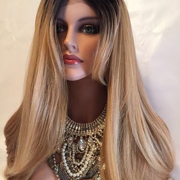 "Valley Girl 22"" dark roots blond mix lace front wig"