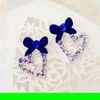 Blue Bow And Sparkly Heart Earrings