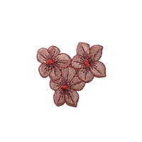ID #6313 Light Brown Hibiscus Plant Garden Iron On Embroidered Applique Patch