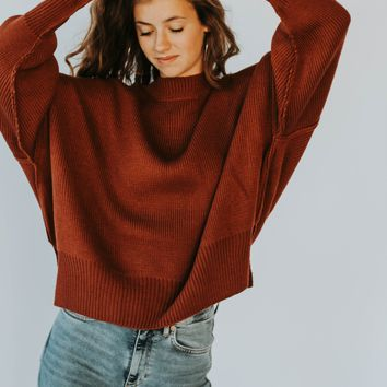 Gigi Mock Neck Sweater (Red Clay)