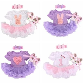 Newborn Bunny Baby Girl clothes Infant Clothing Outfits 2017 Romper Dress/Jumpsuit+Hea