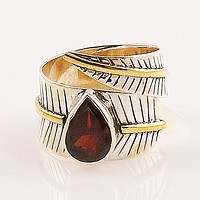 Garnet Two Tone Adjustable Sterling Silver Leaf Ring