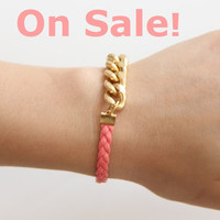 Pink Arm Candy - Gold chunky chain with leather braid Bracelet - 24k gold plated