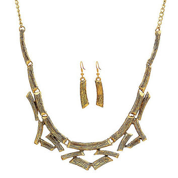 Golden Wood Pattern Alloy Necklace and Earrings
