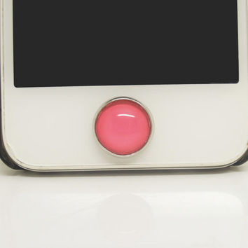 1PC Glass Epoxy 2014 Trendy Color Coral Red  Alloy  Cell Phone Home Button Sticker Charm for iPhone 4s,4g,5,5c Kids Gift
