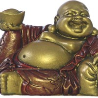 Happy Buddha Ho Tai Reclining on Candy Bag Statue, Miniature 2H