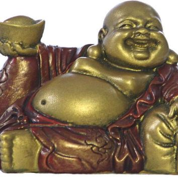 Happy Buddha Ho Tai Reclining on Candy Bag Statue, Miniature Figurine 2H