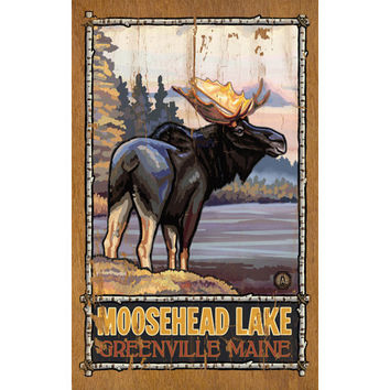 Personalized Moose At Lakes Edge Wood Sign