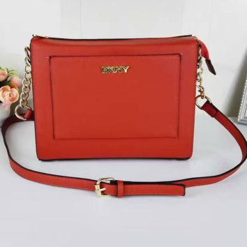 DKNY Women Shopping Leather Metal Chain Crossbody Satchel Shoulder Bag red