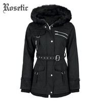 Rosetic Gothic Coat Vintage Women Black Casual Winter Asymmetirc Hooded Trench Slim Outerwear Punk Streetwear Retro Goth Coats